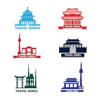 Verzameling van silhouette seoul bezienswaardigheden zuid-koreaanse paleis en tempel