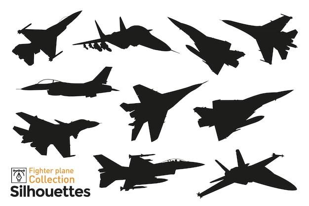 Verzameling van silhouetten van gevechtsvliegtuigen