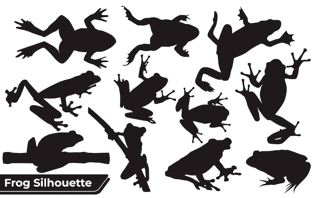 Verzameling van silhouetten van kikkerspelers in verschillende poses