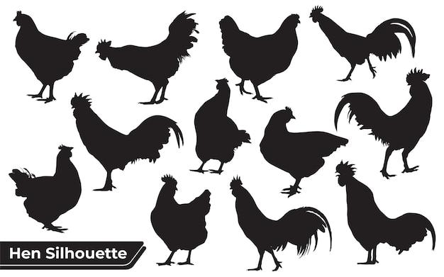 Verzameling van silhouetten van kip of kip in verschillende poses