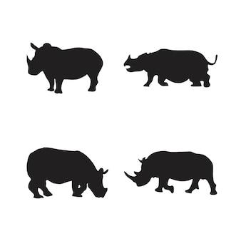 Verzameling van silhouetten van neushoorndieren