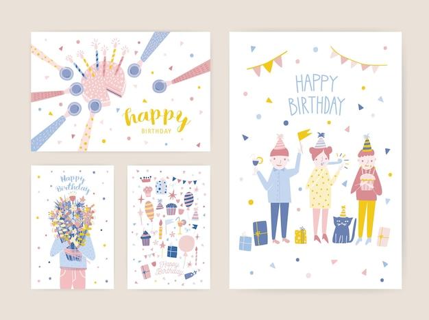 Verzameling van sjablonen voor verjaardagsfeestje uitnodiging met gelukkige mensen, cake met kaarsen en houder van een boeket bloemen