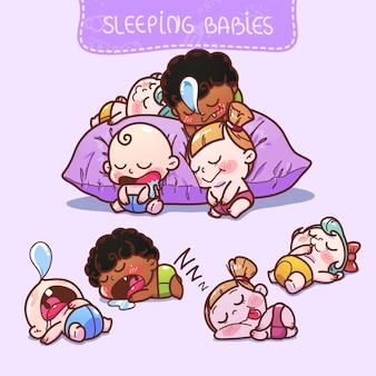 Verzameling van slapende baby's