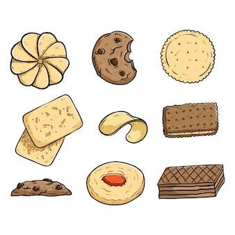 Verzameling van smakelijke coockies met gekleurde doodle of hand getrokken stijl