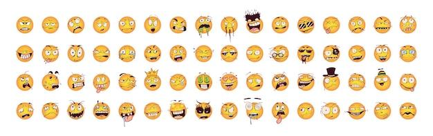 Verzameling van smileys met gekke emoties