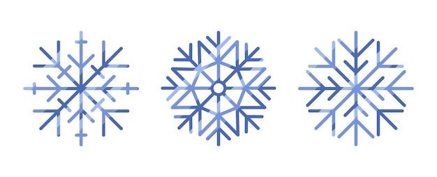 Verzameling van sneeuwvlokken geïsoleerd op een witte achtergrond
