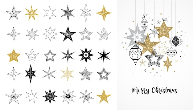 Verzameling van sneeuwvlokken, sterren, kerstversiering, met de hand getekende illustraties