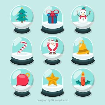 Verzameling van snowglobe met kerstversiering
