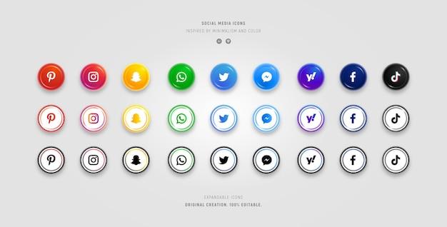 Verzameling van social media iconen