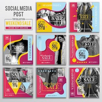 Verzameling van sociale media bericht ontwerpsjabloon