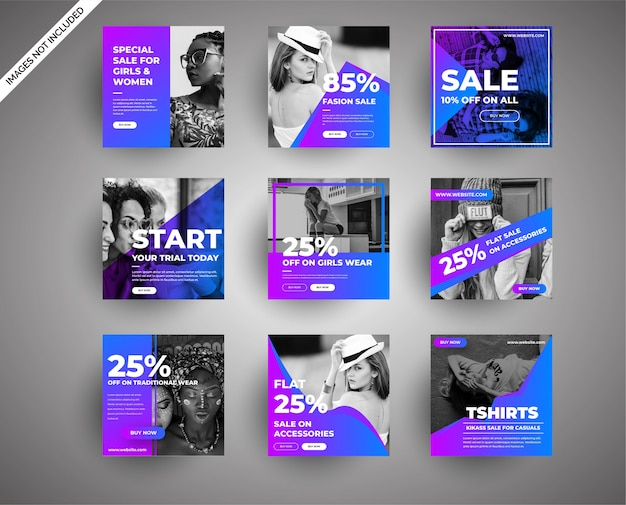 Verzameling van sociale media en digitale marketing banners voor verkoop in mode