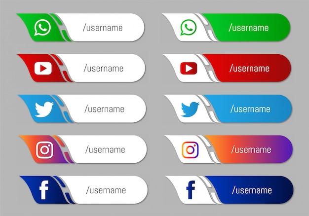 Verzameling van sociale media lagere derde pictogrammen