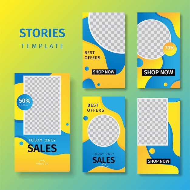 Verzameling van sociale mediaverhalen die bannerachtergronden verkopen