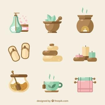 Verzameling van spa-elementen met aromatische vloeistoffen