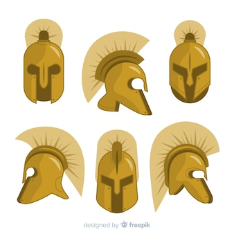 Verzameling van spartaanse helmen