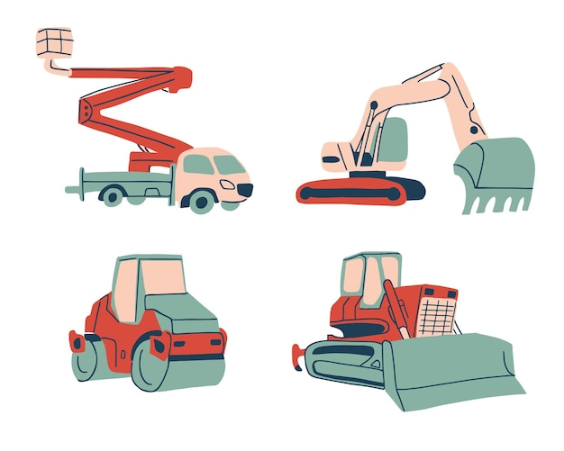 Verzameling van speciale auto's in cartoonstijl, kraanwagen, graafmachine, wals en bulldozer