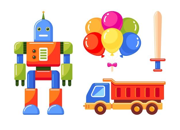 Verzameling van speelgoed voor kinderen geïsoleerd op wit