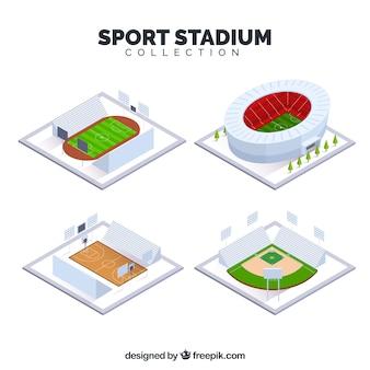 Verzameling van sportstadions in isometrische stijl