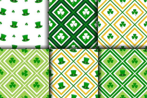 Verzameling van st.patric's dag naadloze patroon in groen oranje en witte kleuren