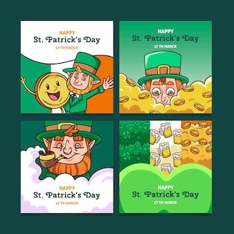 Verzameling van st. patrick's day post op sociale media