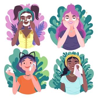 Verzameling van stappen in een routine voor huidverzorging voor vrouwen