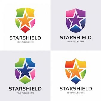 Verzameling van star shield logo ontwerpen sjabloon