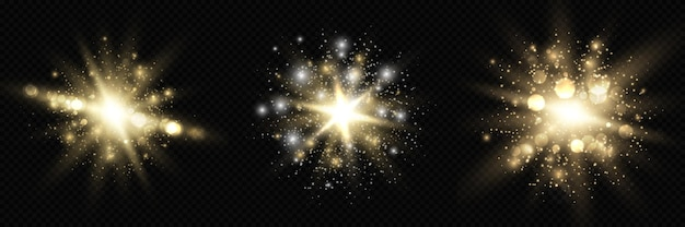 Verzameling van ster burst-gloed met glitters