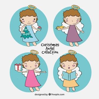 Verzameling van stickers met kerst engelen