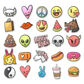 Verzameling van stickers, pins, patches in stripstijl uit de jaren 80-90, illustratie.