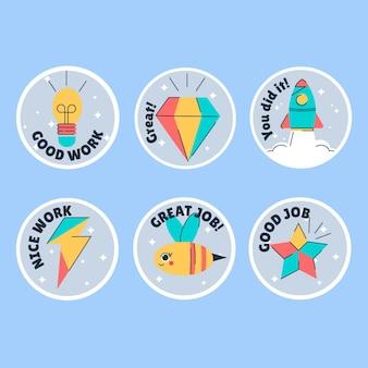 Verzameling van stickers voor goede banen