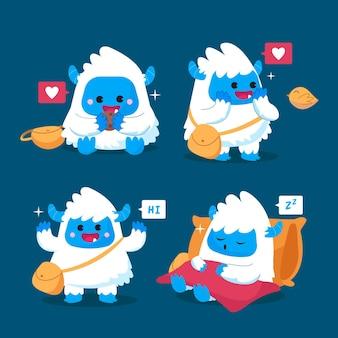 Verzameling van stripfiguren yeti afschuwelijke sneeuwpop