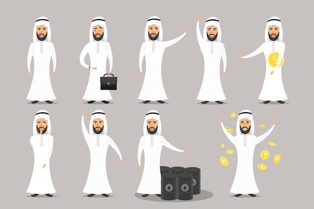 Verzameling van stripfiguur arabische zakenman op de grijze achtergrond.