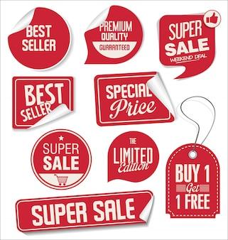 Verzameling van super verkoop en prijs badge en labels