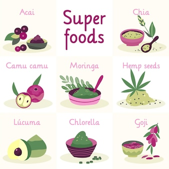 Verzameling van superfood illustraties