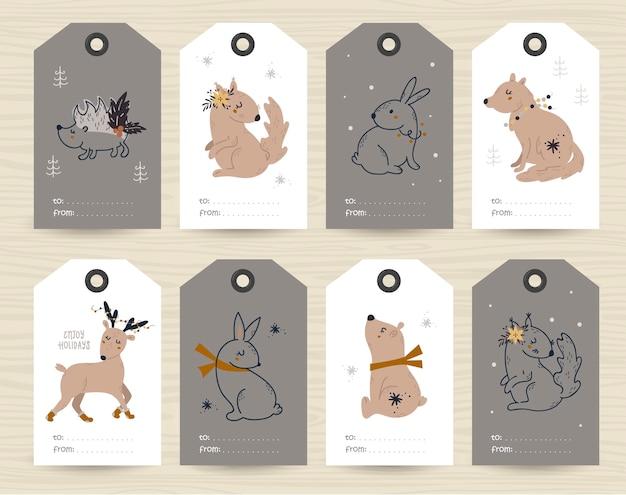 Verzameling van tags met kerstartikelen en dieren.