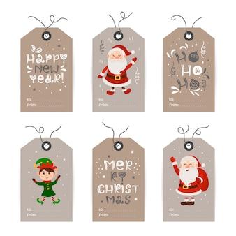 Verzameling van tags met kerstman, kabouters en vakantiewensen. afdrukbare kaartsjablonen.