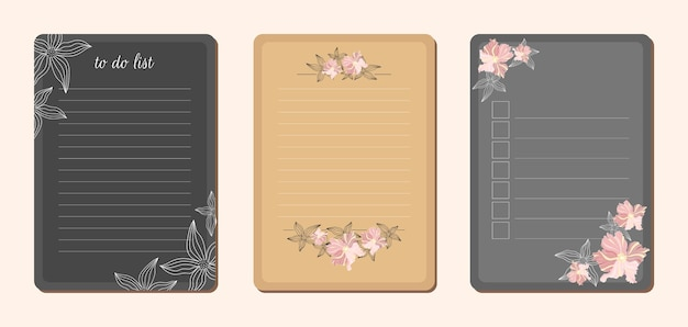 Verzameling van takenlijst met bloemen