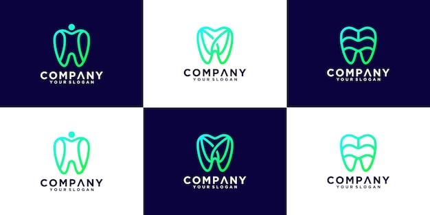 Verzameling van tandheelkundige logo-ontwerpen met lijnstijl