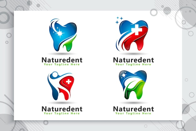 Verzameling van tandheelkundige zorg-logo instellen