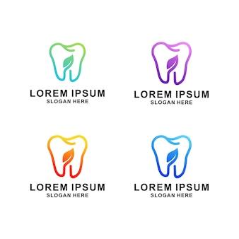Verzameling van tandheelkundige zorglogo's instellen met moderne natuurlijke