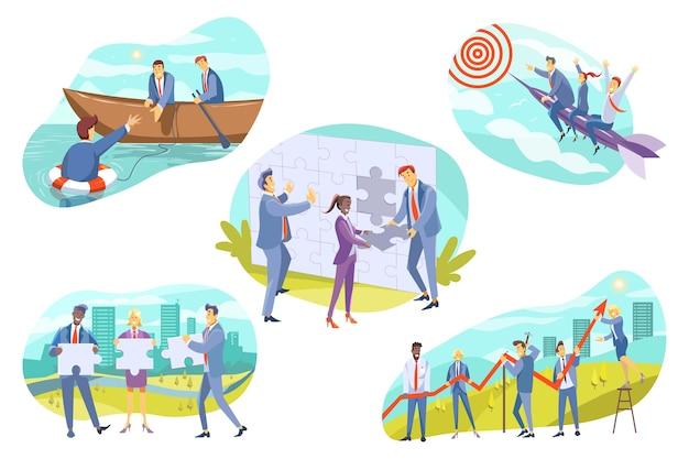 Verzameling van teams van zakenmensen mannen vrouwen