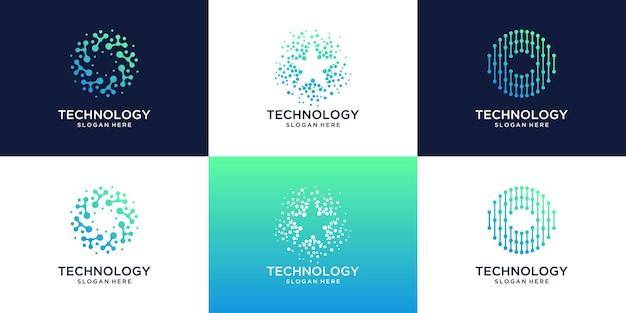 Verzameling van technologieverbinding met abstracte stip-, molecuul- en systeemlogosjabloon.