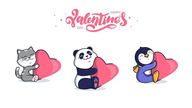 Verzameling van tekenfilm dieren, zoals een pinguïn, een kat en een panda die een hart knuffelen.