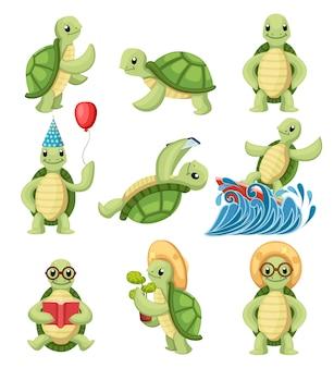 Verzameling van tekenfilms van schildpadden. kleine schildpadden doen verschillende dingen. illustratie op witte achtergrond