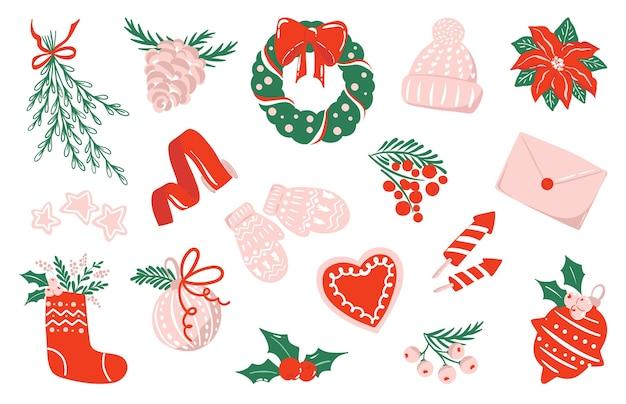 Verzameling van tekeningen voor kerstmis en nieuwjaar in rood, roze en wit kleurenschema, geïsoleerde clipartillustraties. aantal stickers. vakantie kunst
