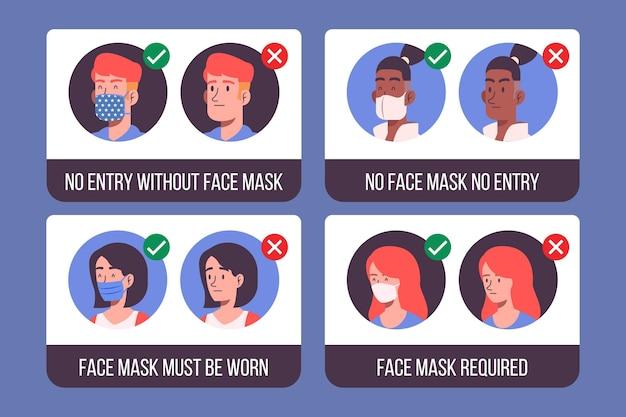 Verzameling van tekens over het dragen van medische maskers