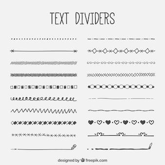 Verzameling van tekst retro divider