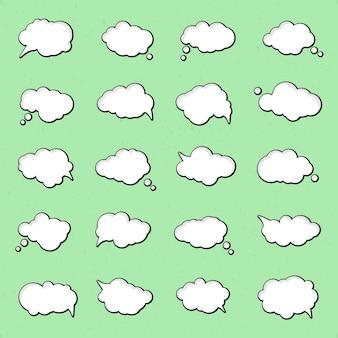 Verzameling van tekstballonnen in pop-artstijl. elementen van ontwerpstrippagina's. set van gedachte of communicatie bubbels.