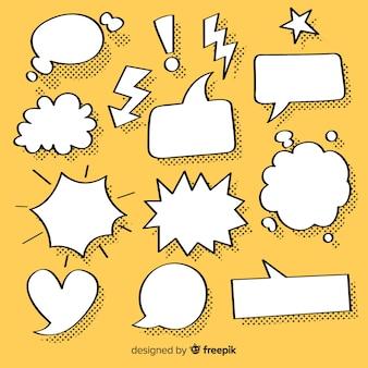 Verzameling van tekstballonnen voor strips