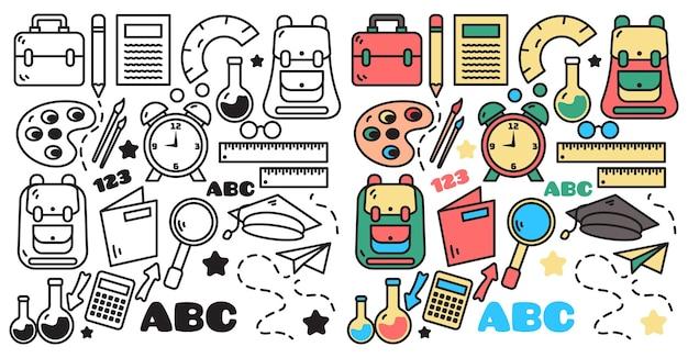 Verzameling van terug naar school kleur en monochromatische set doodles